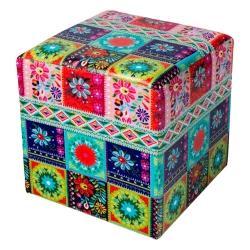 Puff Patchwork Multicolorido em Courino - 36x36 cm R$ 549,90 R$ 369,90 7x de R$ 52,84 sem juros