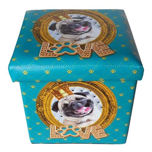 Puff Caixa Dog Pug em Madeira - 35x35 cm