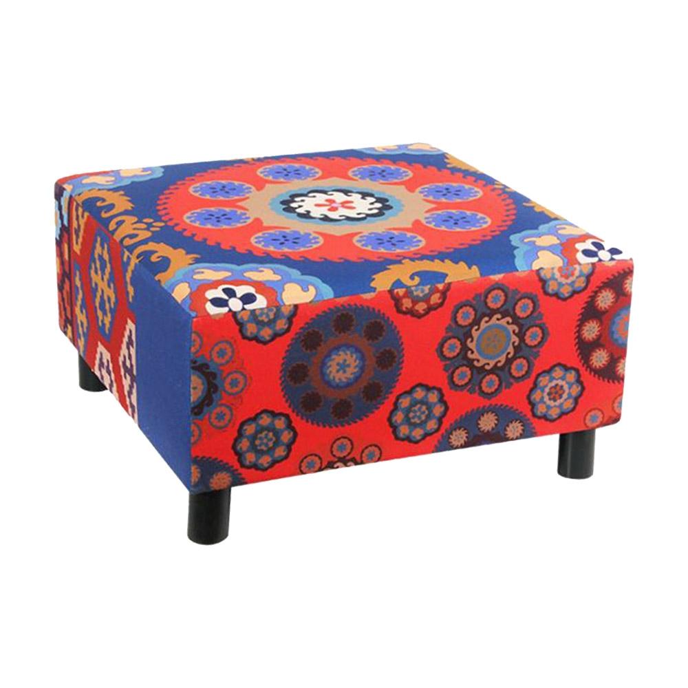 Puff Étnico Vermelho e Azul em Tecido - 60x60 cm