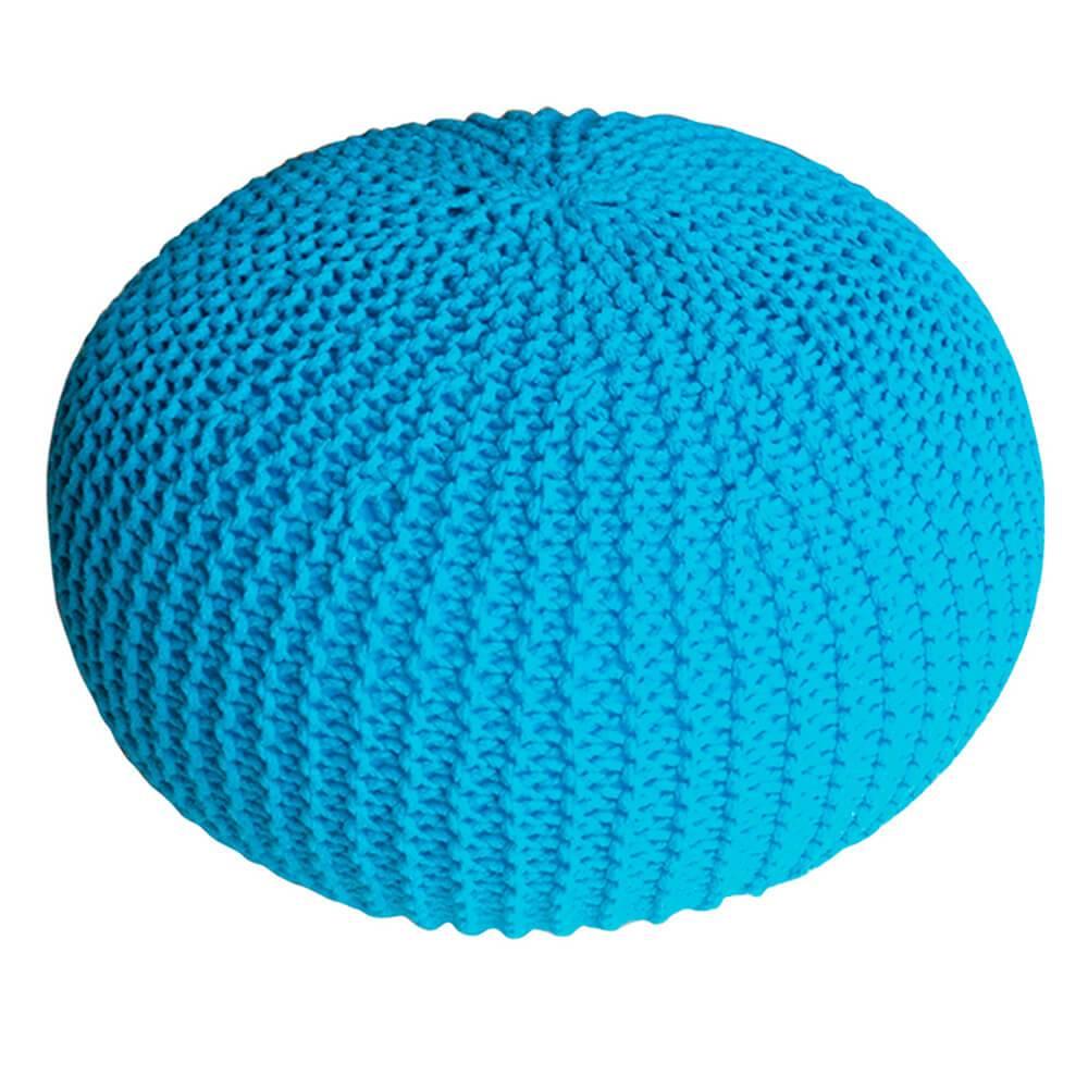 Puff Giant Ball Crochet Azul em Espuma - Urban - 55x30 cm