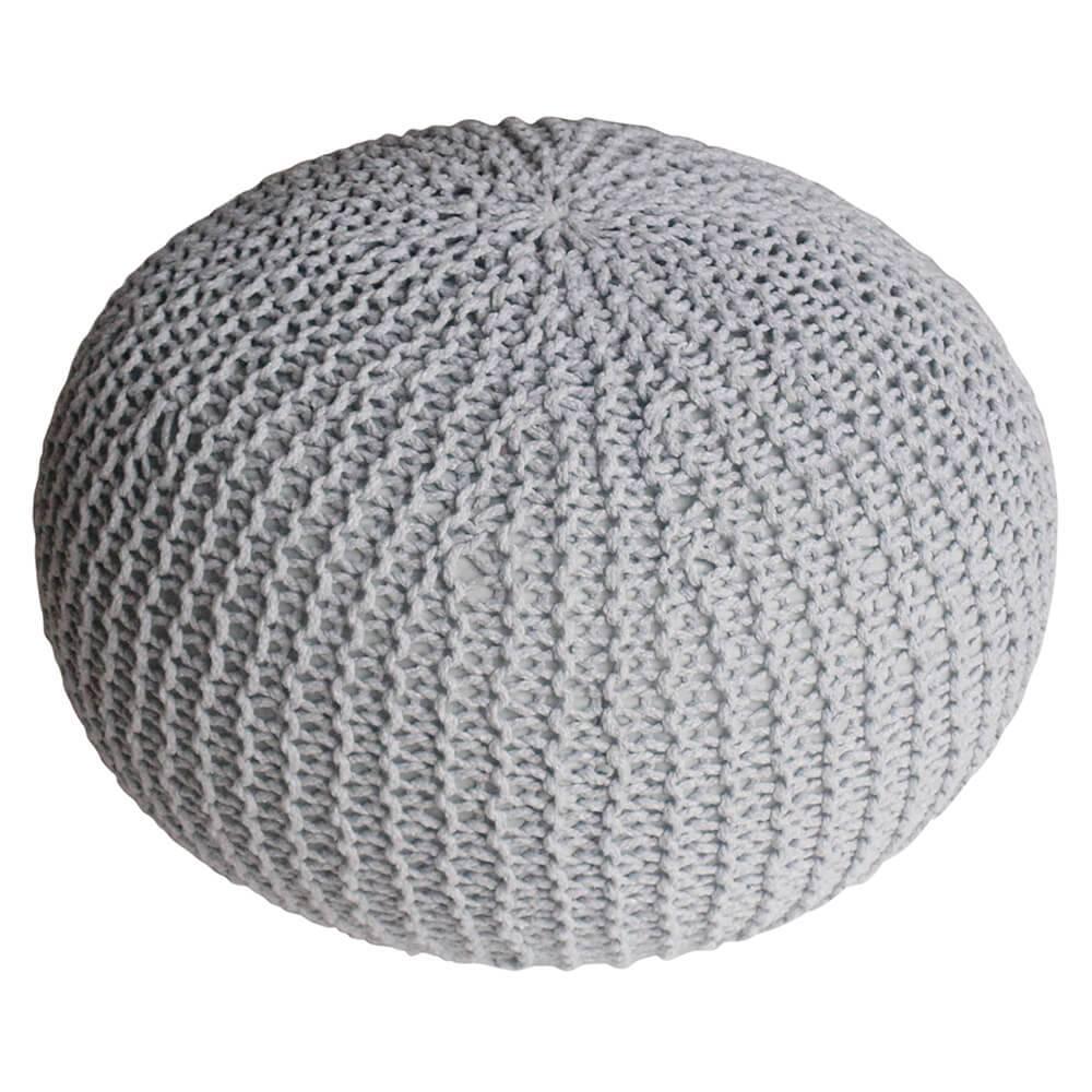 Puff Giant Ball Crochet Cinza em Espuma - Urban - 55x30 cm