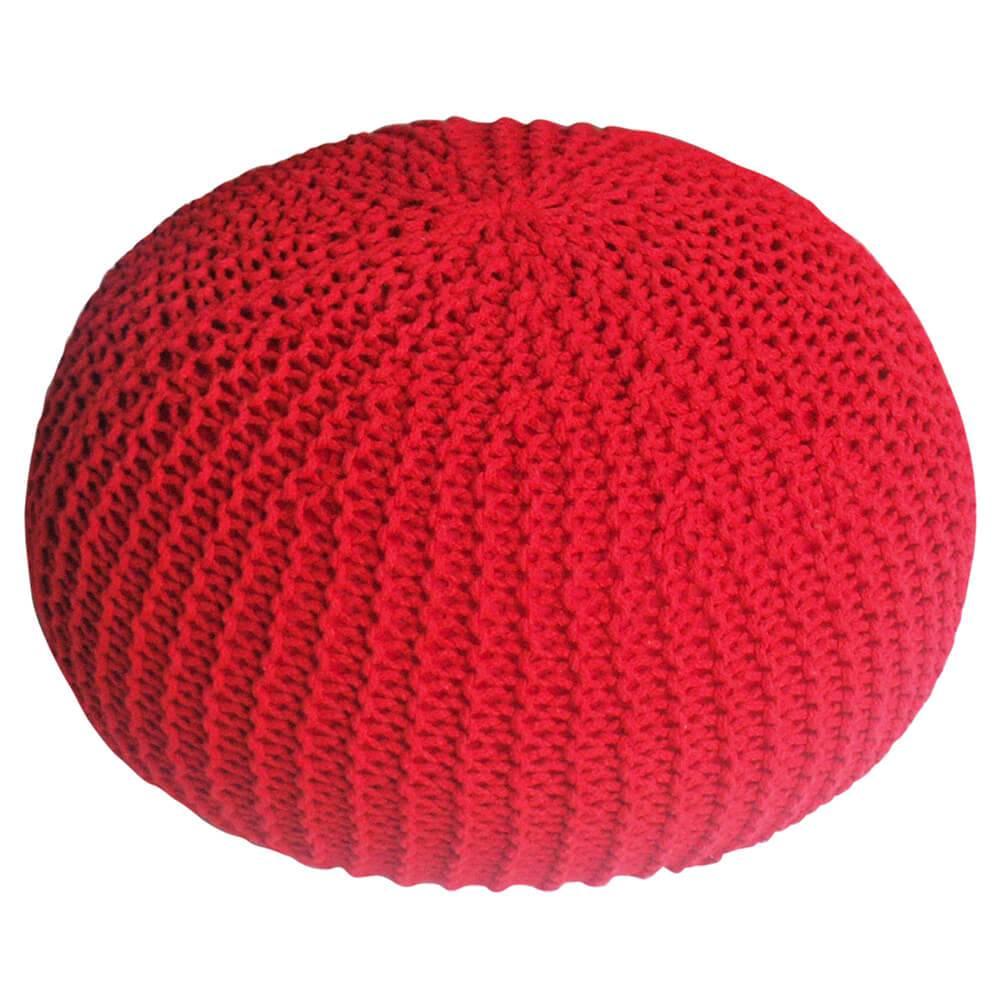Puff Giant Ball Crochet Vermelho em Espuma - Urban - 55x30 cm