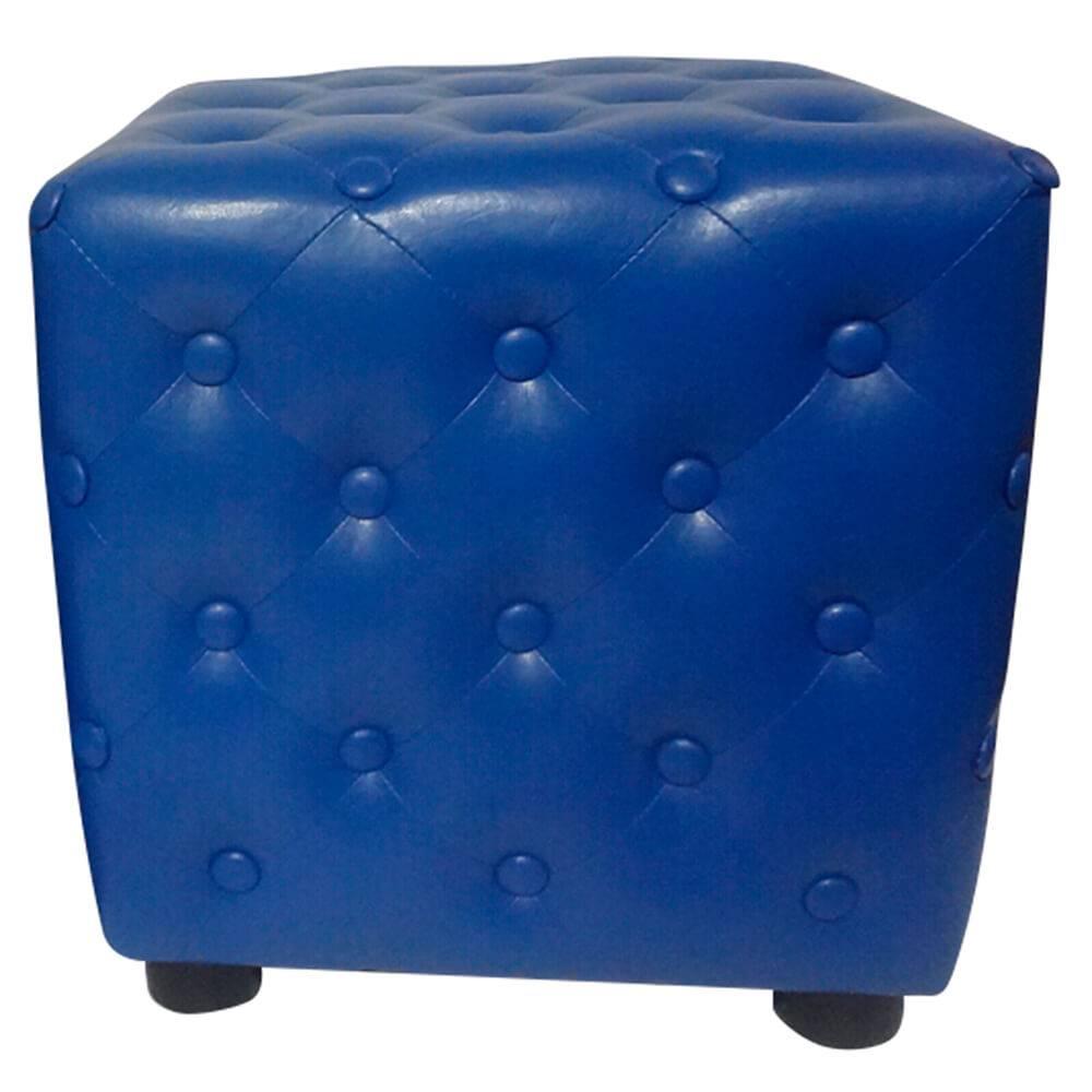Puff Indigo Capitonê Azul em Madeira e Espuma - Urban - 38x38 cm