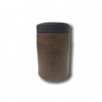 Puff Jack Daniels Marrom e Preto em Metal e Couro - 40x27 cm