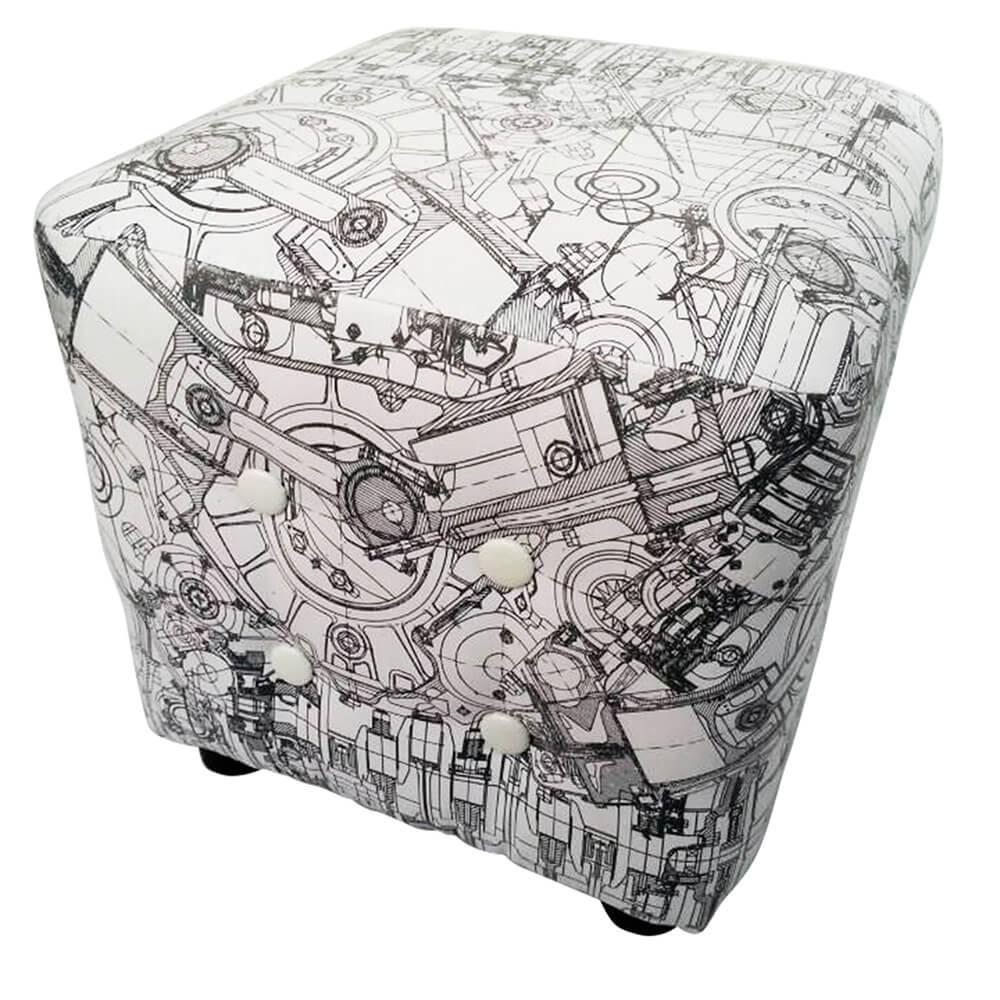 Puff Loft NY All Gears em Madeira e Espuma - Urban - 38x38 cm
