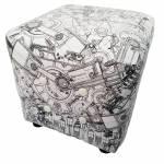 Puff Loft NY All Gears em Madeira e Espuma Urban - 38x38 cm