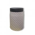 Puff Louis Vuitton Cinza e Off em Metal e Couro Ecológico - 40x27 cm