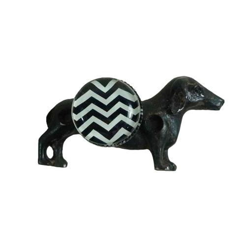 Puxador Cachorro Preto em Metal - 10,5x5,2 cm