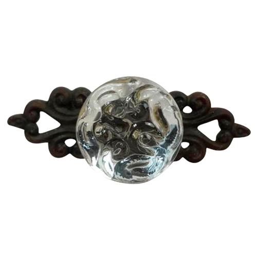 Puxador Cristal em Metal - 10,6x6,5 cm