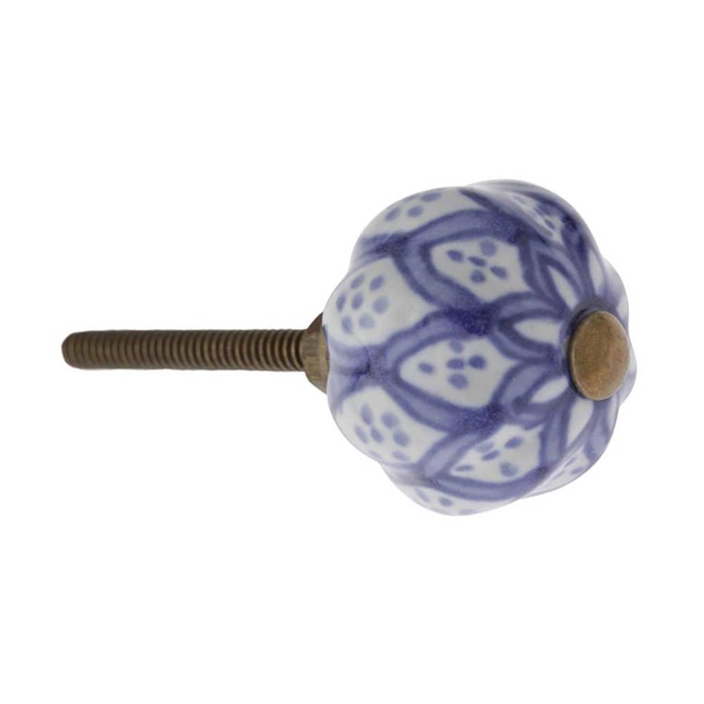Puxador para Móvel Azul e Branco em Cerâmica - 8x4 cm
