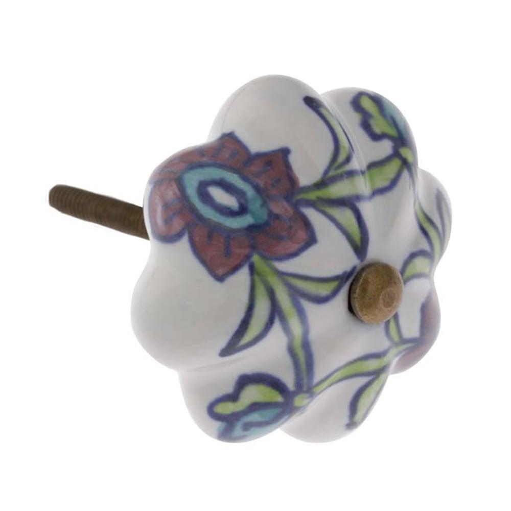Puxador para Móvel Floral Garden Branco em Cerâmica - 7x3 cm