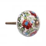 Puxador para Móvel Floral Vermelho em Cerâmica - 8x4 cm