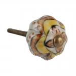 Puxador para Móvel Laranja e Amarelo em Cerâmica - 6x3 cm