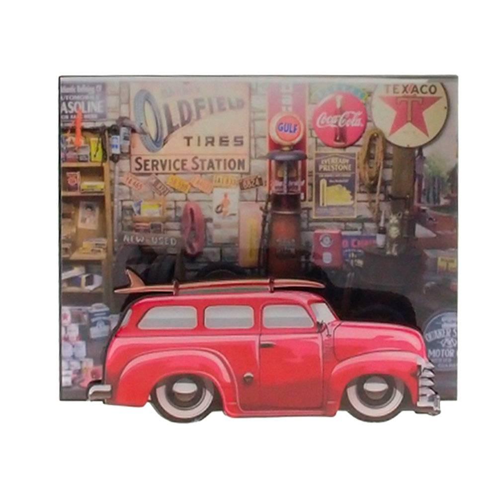 Quadro 3D Chevrolet Vermelho em MDF - 26x22 cm