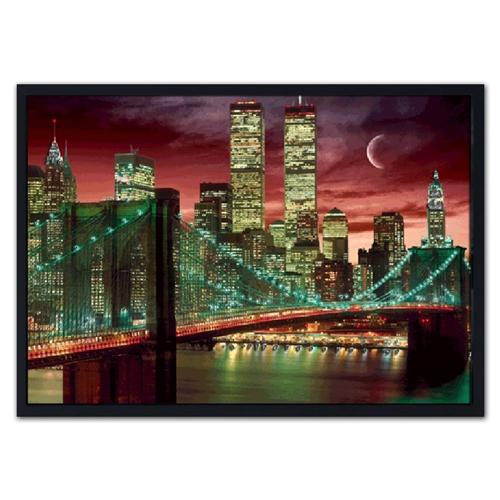 Quadro 3D Manhattan Iluminada em Madeira - 70x50 cm