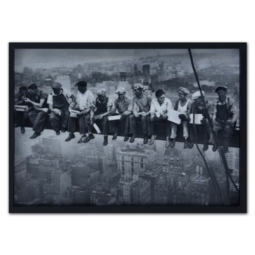 Quadro 3D Operários de New York em Madeira - 70x50 cm