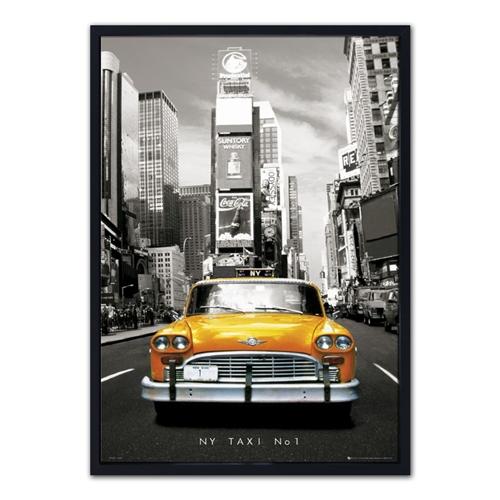 Quadro 3D Táxi Amarelo de New York em Madeira - 70x50 cm
