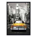 Quadro 3D Táxi Amarelo de New York em Madeira