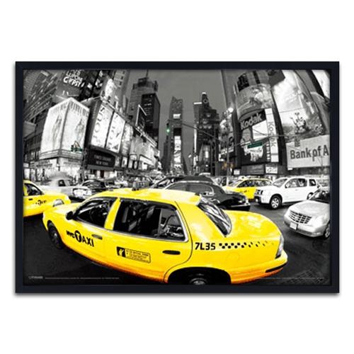 Quadro 3D Táxi New York City Panorâmico em Madeira - 70x50 cm