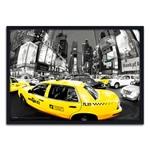 Quadro 3D Táxi New York City Panorâmico em Madeira