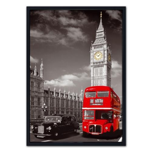 Quadro 3D Torre Big Ben e Ônibus em Madeira - 70x50 cm