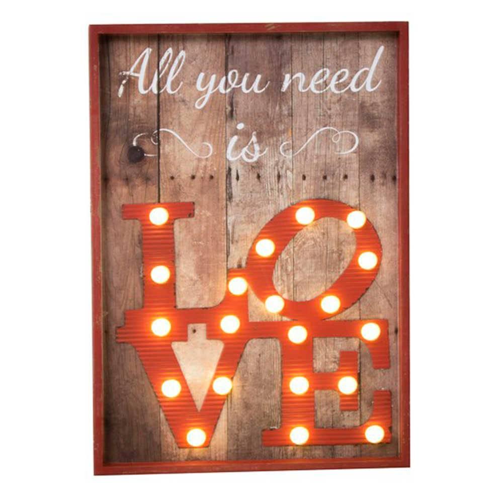 Quadro All You Need Is Love com Detalhe de Led em Madeira - 50x42 cm