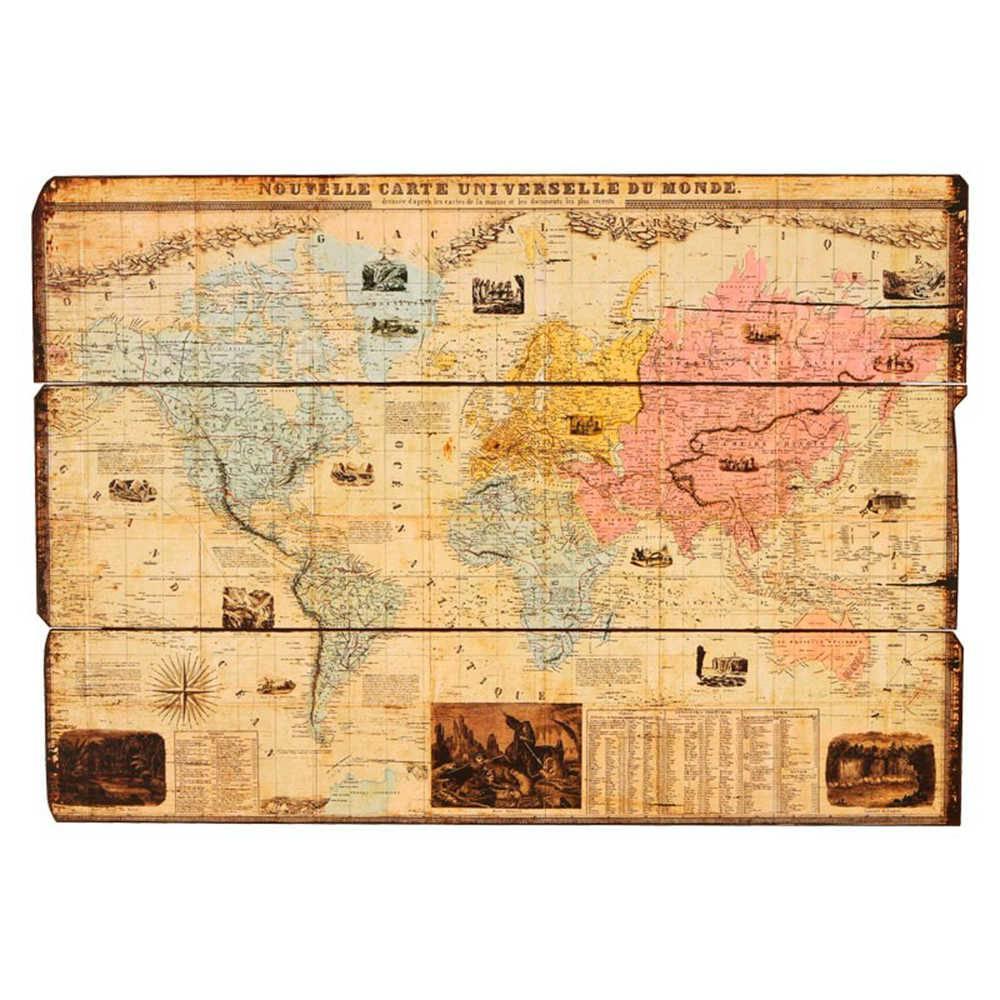 Quadro Antigo Mapa Mundi com Legenda em Madeira - 101x71 cm