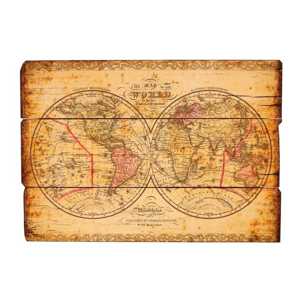 Quadro Antigo Mapa Mundi em Madeira - 101x71 cm