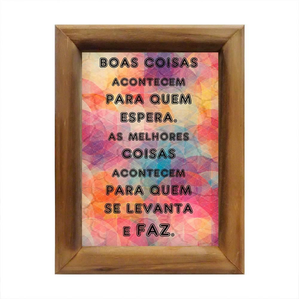 Quadro As Coisas Acontecem Multicolorido em Madeira - 26x20 cm