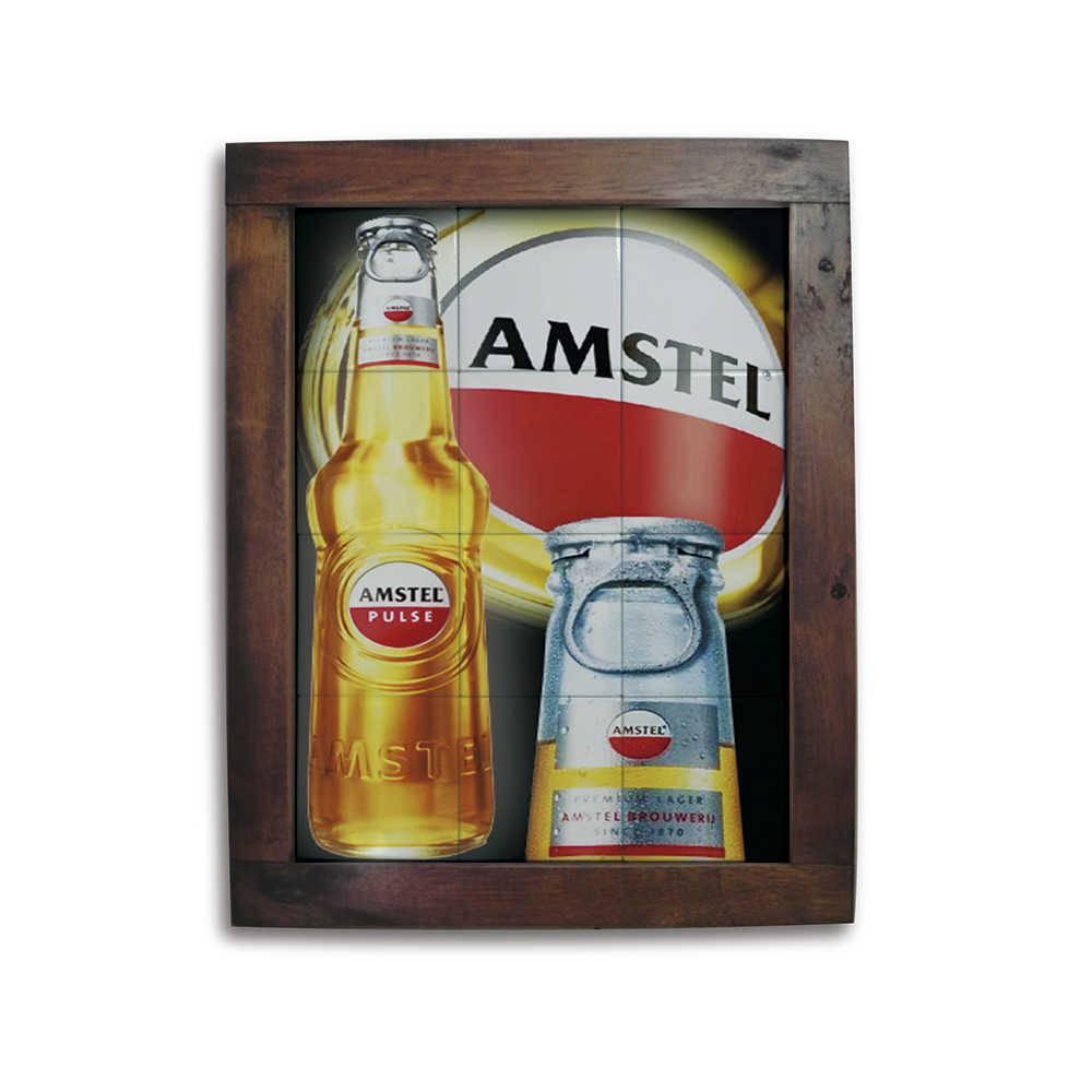 Quadro Azulejo Amstel com Moldura em Madeira - 48x38 cm