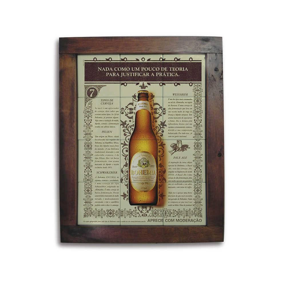 Quadro Azulejo Cerveja Bohemia com Moldura em Madeira - 48x38 cm