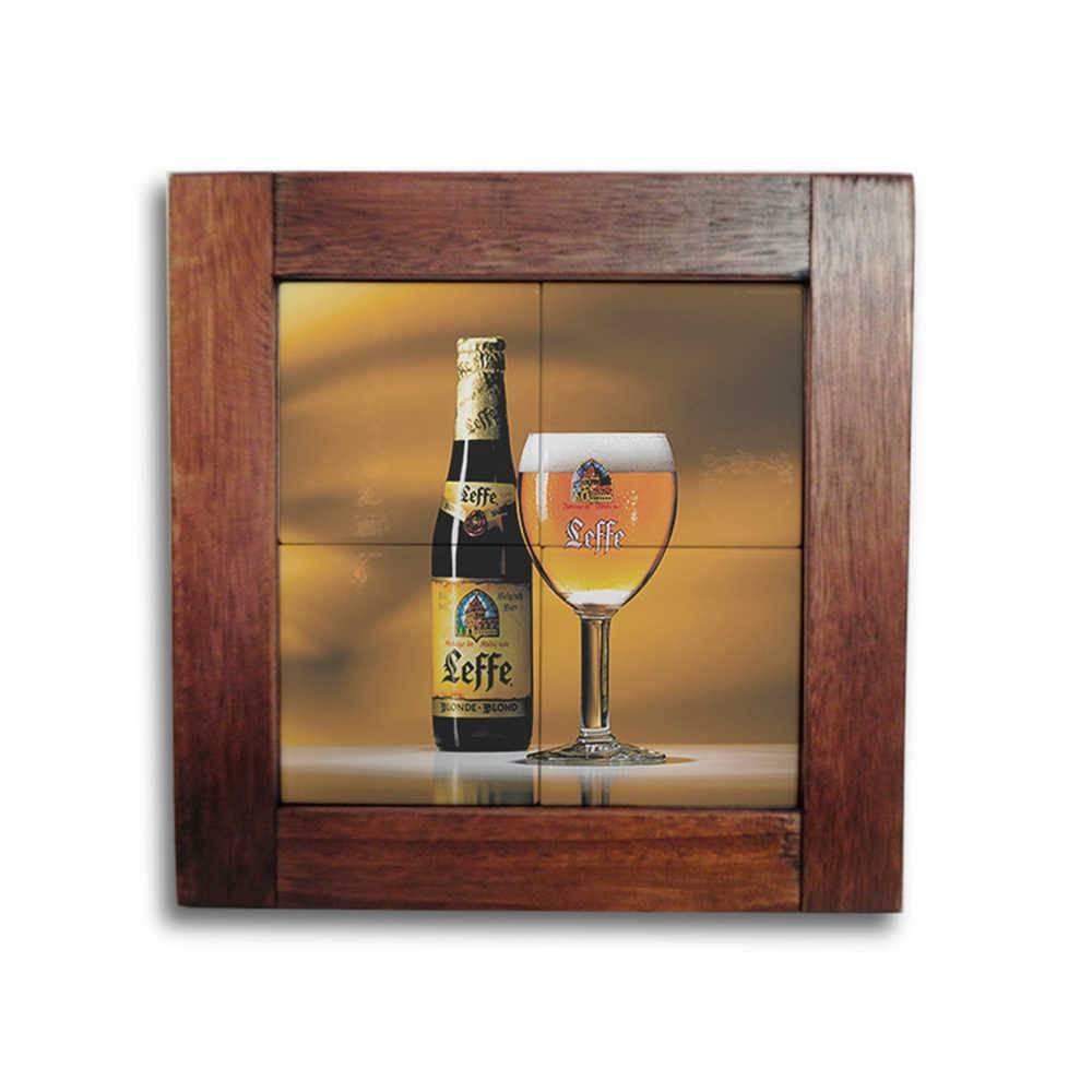 Quadro Azulejo Cerveja Leffe com Moldura em Madeira - 28x28 cm
