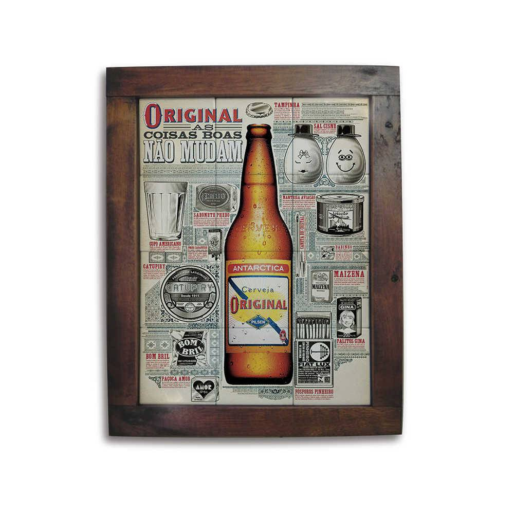 Quadro Azulejo Cerveja Original com Moldura em Madeira - 48x38 cm