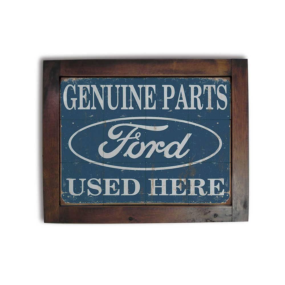 Quadro Azulejo Ford Genuine Parts com Moldura em Madeira - 48x38 cm