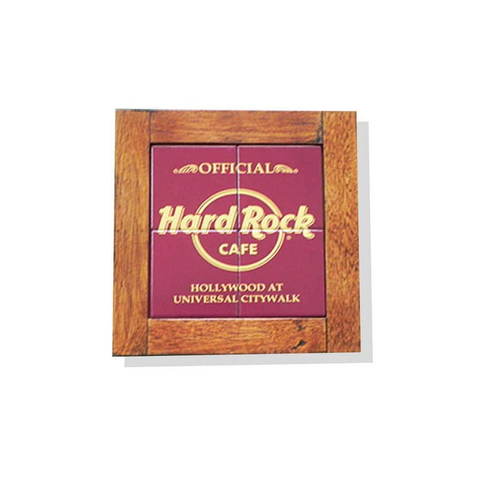 Quadro Azulejo Hard Rock Café com Moldura em Madeira - 28x28 cm