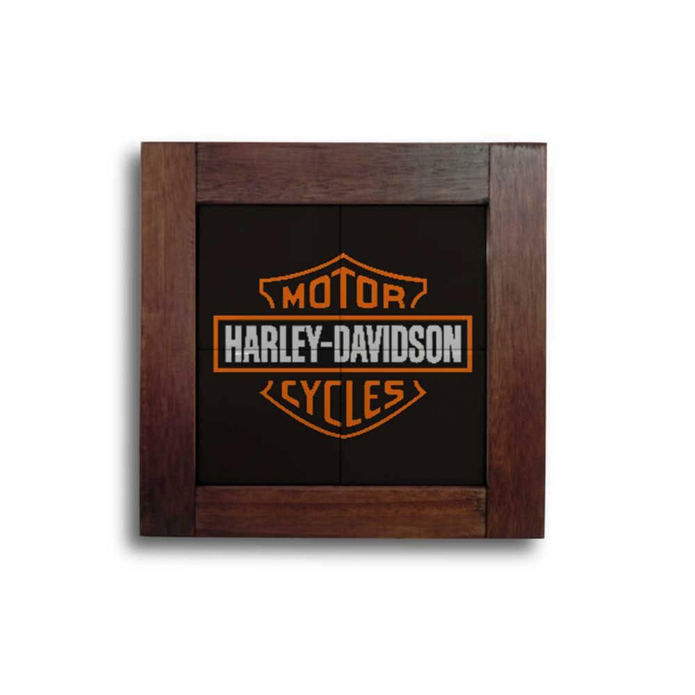 Quadro Azulejo Harley Davidson com Moldura em Madeira - 28x28 cm