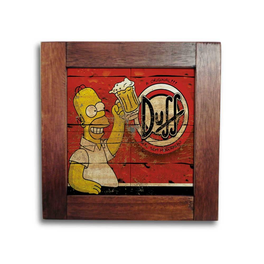 Quadro Azulejo Homer e Cerveja Duff com Moldura em Madeira - 28x28 cm