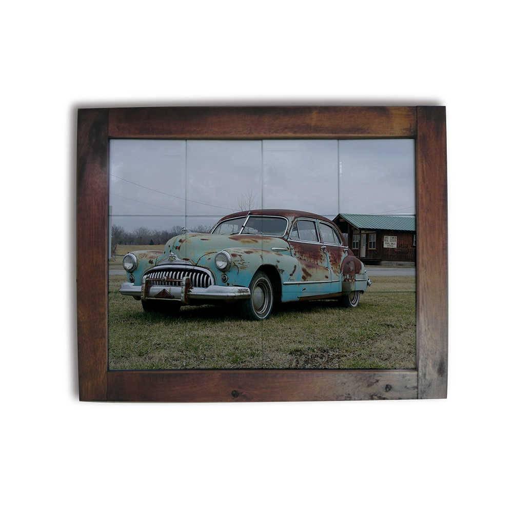 Quadro Azulejo Old Car com Moldura em Madeira - 48x38 cm