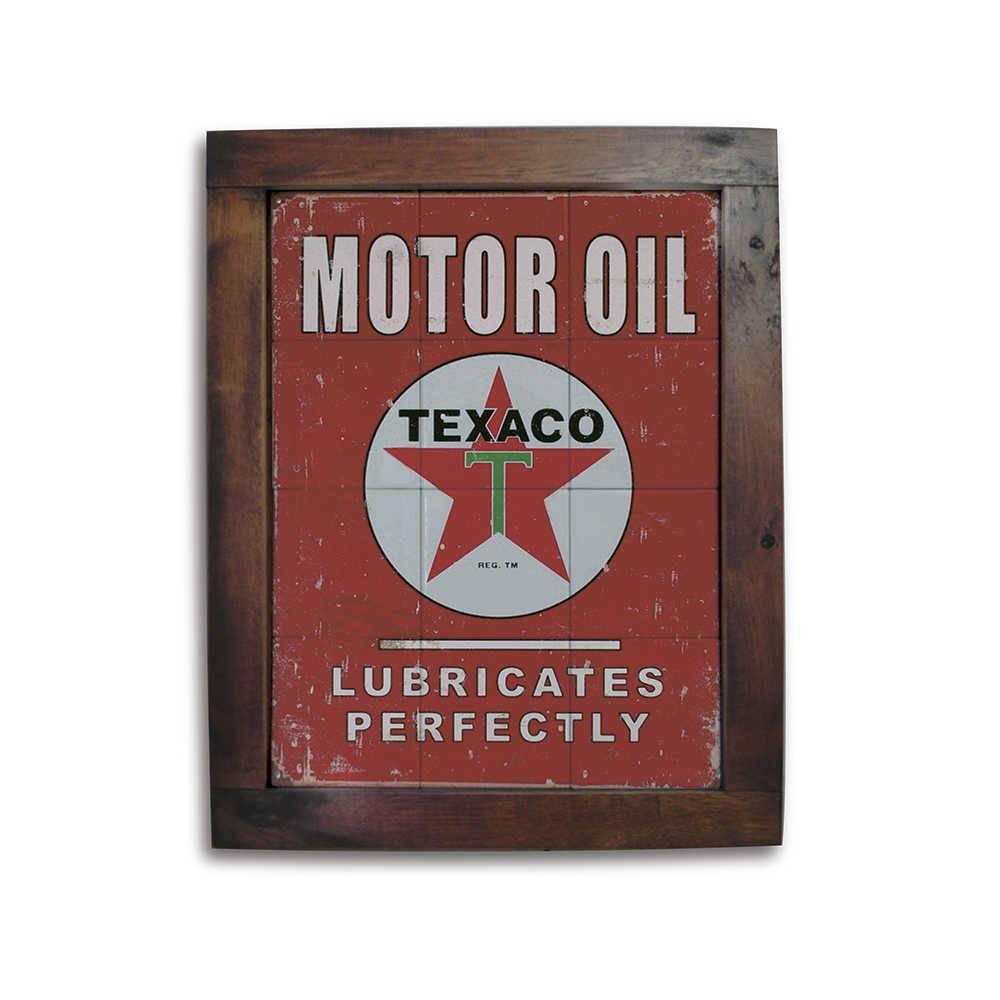 Quadro Azulejo Texaco Motor Oil Vermelho com Moldura em Madeira - 48x38 cm