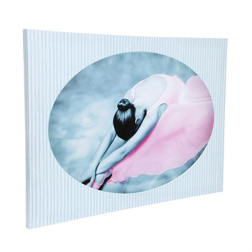 Quadro Bailarina Listrado em Madeira - 40x40 cm