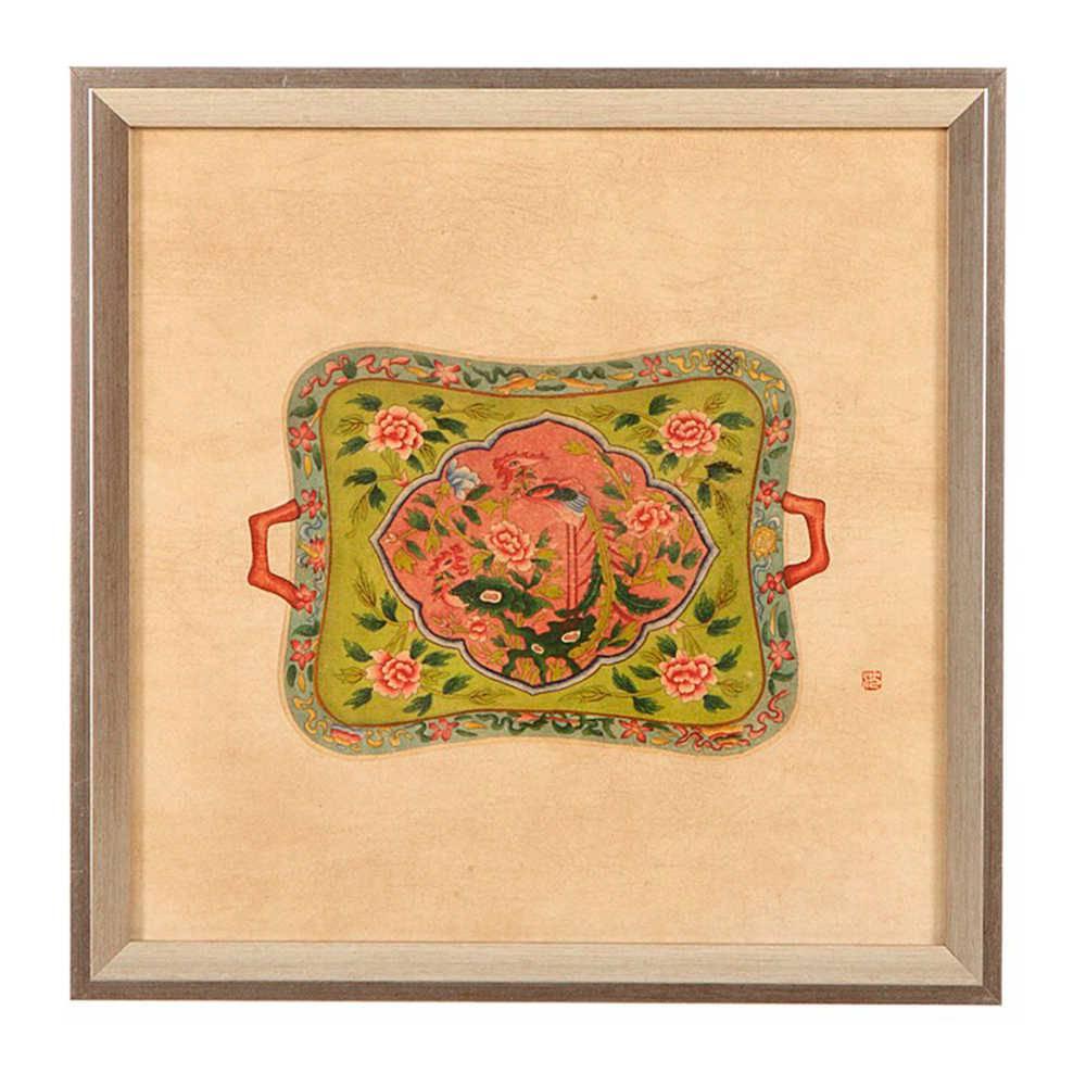 Quadro Bandeja de Porcelana Verde em Madeira - 33x33 cm