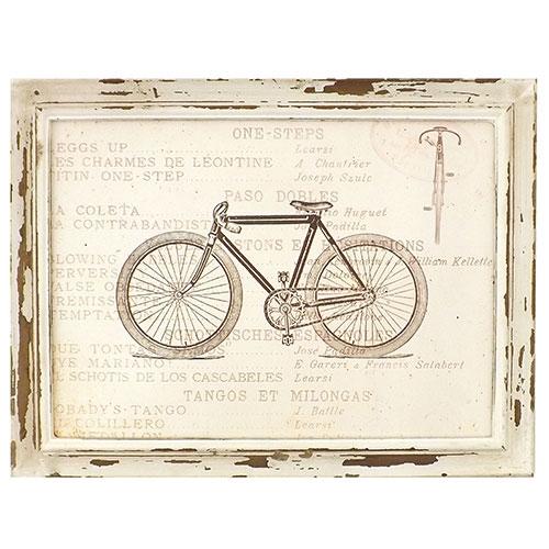 Quadro Bicicleta Preta (Com Rodas Preto Fosco) - Madeira Estampada - 41x31 cm