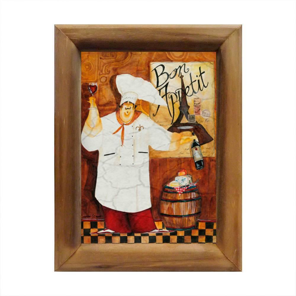 Quadro Bon Appetit Chef de Cozinha em Madeira - 26x20 cm