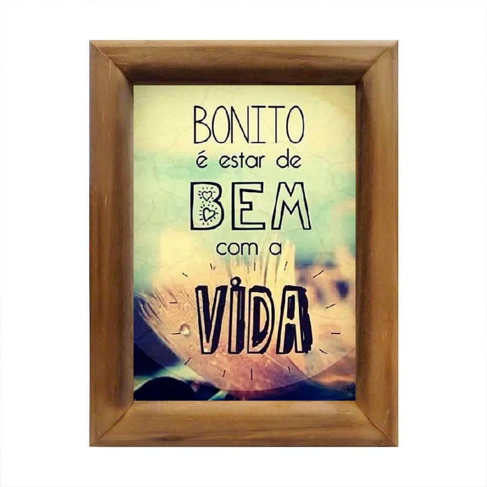 Quadro Bonito É Estar de Bem com A Vida em Madeira - 26x20 cm