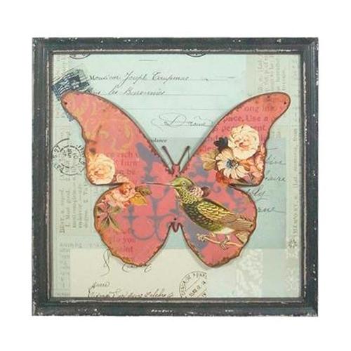 Quadro Borboleta Beija-flor Vintage em Madeira - 45x45 cm