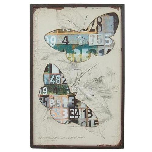 Quadro Borboletas e Números Vintage de Madeira - 74x48 cm