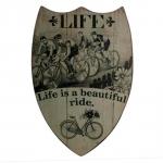 Quadro Brasão Life Is a Beautiful Ride em Madeira - 70x48 cm
