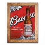 Quadro Budweiser The Great American Lager c/ Moldura em Madeira - 70x55 cm