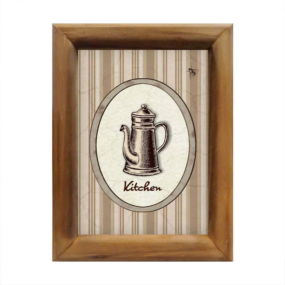 Quadro Bule Bege Vintage em Madeira - 26x20 cm