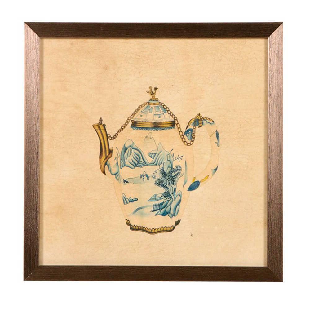 Quadro Bule de Porcelana Estampado em Madeira - 33x33 cm